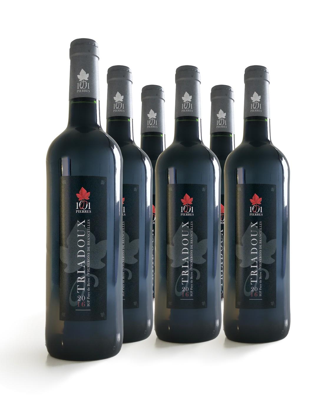 Carton de 6 bouteilles de vin Triadoux : Vin Rouge Conventionnel - 6 bouteilles de 75 cl - 1001 Pierres